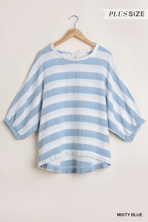 Striped Puff Sleeve Top in Periwinkle/Cream