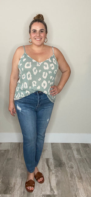 Strappy Tank in Sage/Cream Print