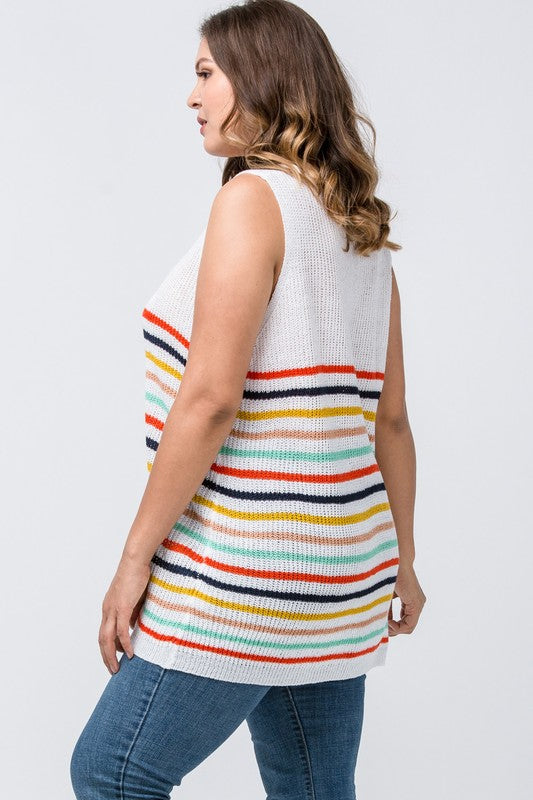 Sleeveless Multi-color striped knit top