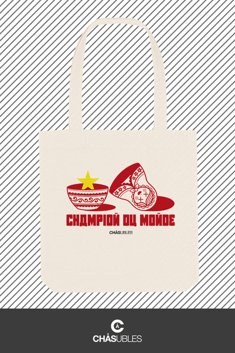 Tote bag « champion du monde » (rouge) - CHASUBLES