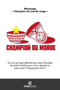 T-Shirt homme « Champion du monde » (rouge) - CHASUBLES