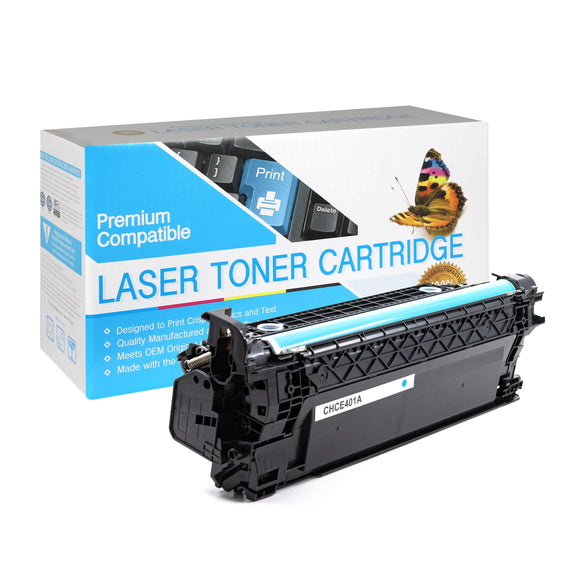 Compatible HP CE401A Cyan Toner Cartridge  (507A) - Brooklyn Toner