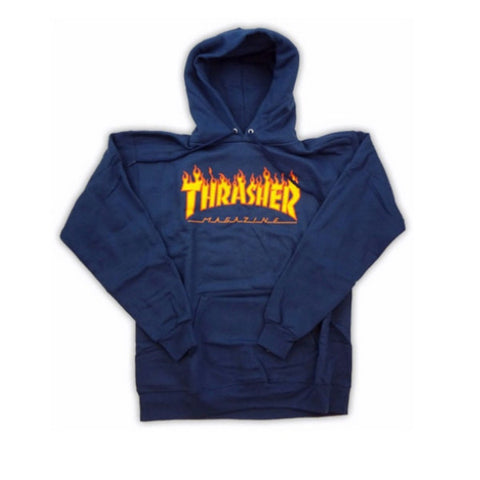 Thrasher Hoodie Flame Navy