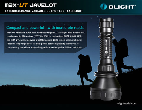 Olight M2X-UT Javelot 1 x 18650 / 2 x CR123A Customized CREE XP-L 1020 Lumen LED Flashlight
