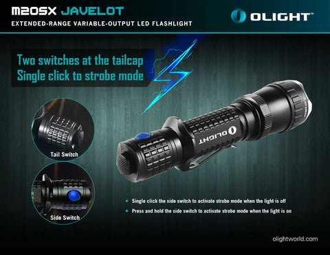 Olight M20SX Javelot 1 x 18650 / 2 x CR123A Customized CREE LED 820 Lumen LED Flashlight