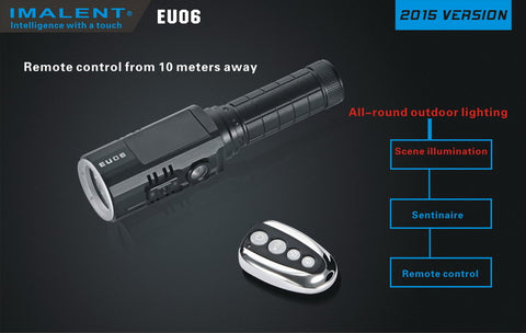 Imalent EU06R 1 x 18650 / 2 x CR123A CREE XM-L2 U2 1190 Lumen LED Flashlight with Secondary Red LED - 2015 Version