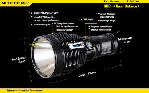 Nitecore TM36 Lite 8 x CR123/4 x 18650 Luminus SBT-70 1800 Lumen LED Flashlight