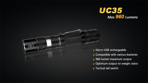 Fenix UC35 2 x CR123/1 x 18650 CREE XM-L2 960 Lumen LED Flashlight