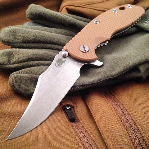 "Rick Hinderer XM-18 Bowie Style Folding Knife w/ Blue Black Scale (3.5"" Blade)"