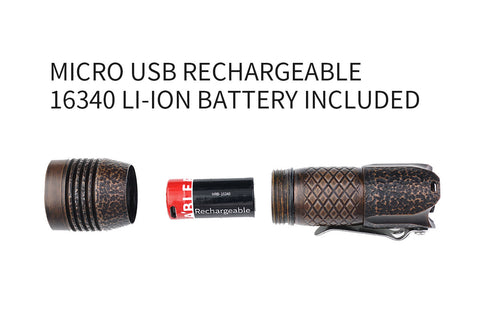 MecArmy PS16 Copper Rock 2000 Lumen Limited Edition EDC Flashlight 1 *16340 Micro-USB Battery