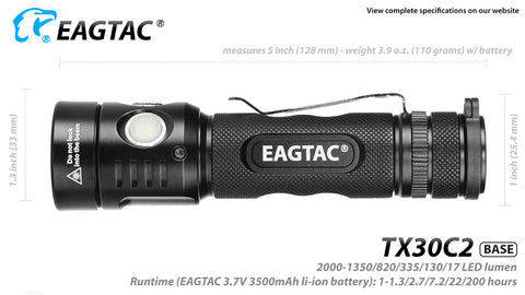 EagTac TX30C2 1870 Lumen Flashlight CREE XHP 35 HI LED - Cool White
