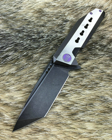 WE Knife 602A Black/White Black Stonewashed Blade Folding Knife