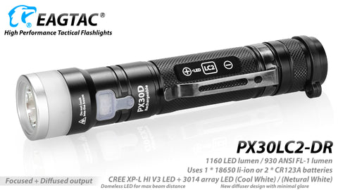 Eagletac PX30LC2DR 640 Lumen 1 x 18650 Nichia 219C LED Flashlight