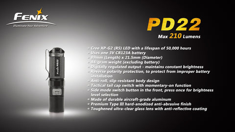 Fenix PD22 CREE XP-G2 LED 210 Lumen Flashlight