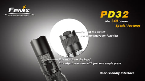Fenix PD32 CREE XP-G2 2 x CR123 / 1x 18650 340 Lumens LED Flashlight