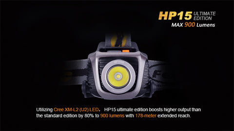 Fenix HP15 Ultimate Edition 900 Lumen LED Headlamp 4 x AA CREE XM-L2