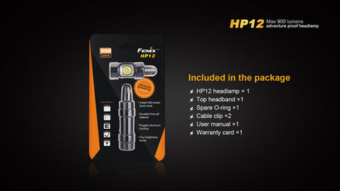 Fenix HP12 2 x CR123/1 x 18650 CREE XM-L2 900 Lumen LED Headlamp