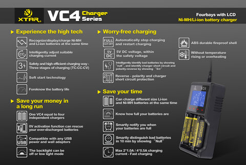 XTAR VC4 Four Bay Li-ion/Ni-MH Premium USB Battery Charger