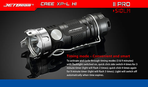 Jetbeam II Pro Aluminum 510 Lumen 1 x CR123 CREE XP-L HI LED Flashlight