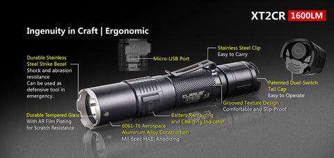 Klarus XT2CR 1600 Lumen USB Rechargeable 1 x 18650 CREE XHP35 LED Flashlight