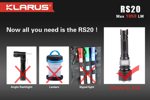 Klarus RS20 2 x CR123/1 x 18650 CREE XM-L2 + Red/Green/Blue 1050 Lumen LED Flashlight