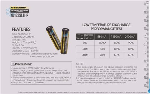 Nitecore NL1829LTHP Low Temp Resistant High Performance Rechargeable 18650 Li-Ion Battery