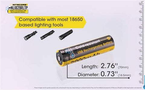 Nitecore Nl1829RLTP Low Temperature Resistant Micro-USB Rechargeable 18650 Li-Ion Battery