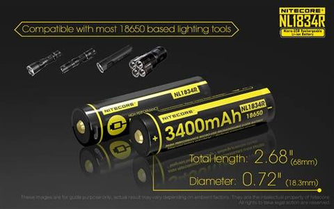 Nitecore NL1834R High Capacity 3400MAH USB Rechargeable 18650 Battery
