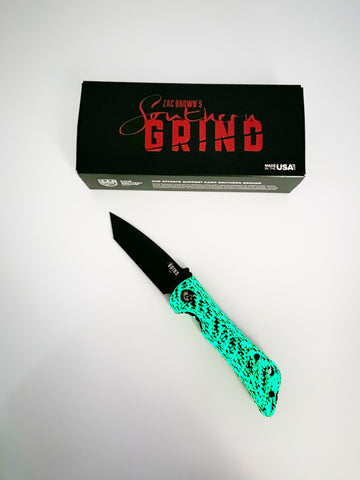 Southern Grind Spider Monkey GLOW Series Black PVD Tanto S35VN Carbon Fiber Folding Knife