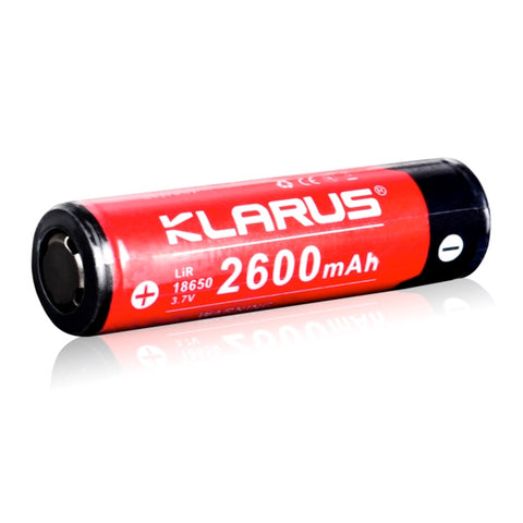 Klarus LiR 18650 2600mAh 9.6Wh 3.7V Button Top Rechargeable Battery