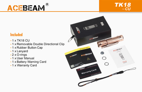 Acebeam TK18 Copper 3000 Lumen Flashlight 3 x SAMSUNG LH351D LED
