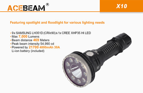 Acebeam X10 7000 Lumen Flashlight 1 x 21700 USB-C Rechargeable Battery 9 x Samsung LH351D LEDs + 1 x CREE XHP35 HI LED