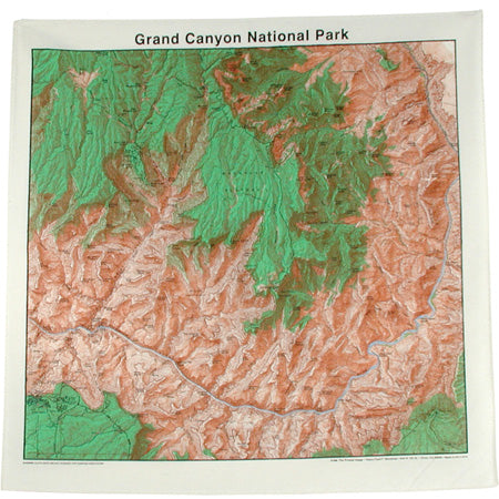 Topographic Map Cotton Bandana - Grand Canyon