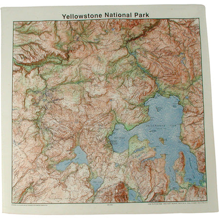 Topographic Map Cotton Bandana - Yellowstone
