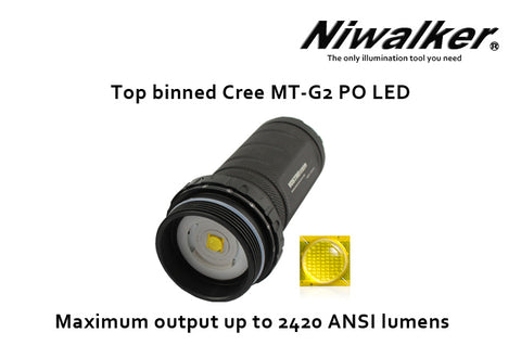 Niwalker Black Light Vostro BK-FA02 CREE MT - G2 2480 Lumen 2,3,4 x 18650 / 4,6,8 CR123 Flashlight Neutral White