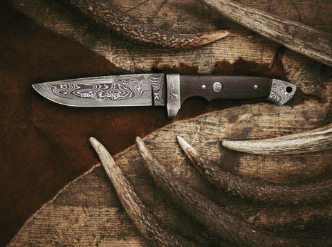 Boker 150th Anniversary Vollintergral Damascus Fixed Blade Knife 9.45in Damascus Steel Blade
