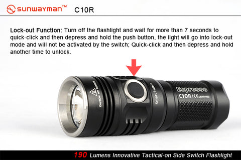 Sunwayman C10R 1 x CR123A / 16340 CREE XM-L2 216 Lumen LED Flashlight