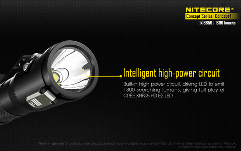 Nitecore Concept 1 1800 Lumen 1 x IMR 18650 CREE XHP35 HD E2 LED Flashlight