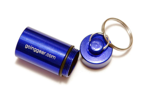 Aluminum Waterproof Battery Capsule / Pill Fob - Blue