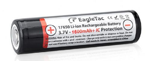 EagleTac Protected 17650 1600mah Li-Ion Rechargeable Battery