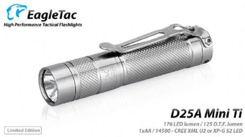 EagleTac D25A Mini Titanium Limited Edition CREE XP-G S2 1 x AA 168 Lumen Flashlight