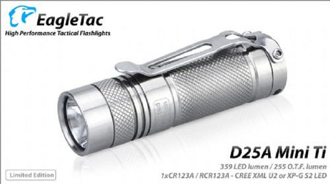 EagleTac D25C Titanium Limited Edition CREE XM-L2 U2 1 x CR123 277 O.T.F./ 397 LED Lumen Flashlight