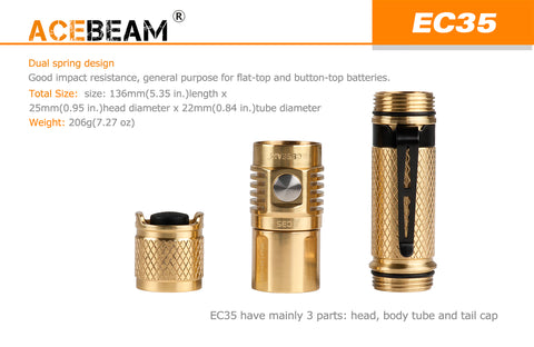 Acebeam EC35 Bronze 1100 Lumen 1 x 18650 CREE XP-L HI LED Flashlight