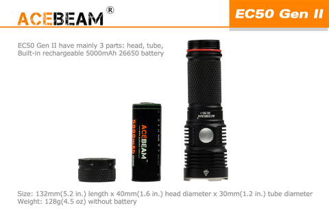 Acebeam EC50 Gen II 3000 Lumen 1 x 26650 CREE XHP70 LED Flashlight