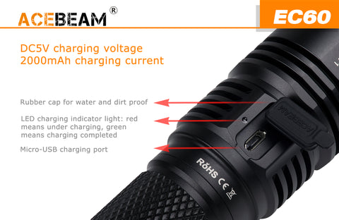 Acebeam EC60 2000 Lumen 1 x 26650 XHP35 HI LED Flashlight