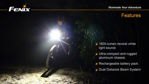 Fenix BT30R 1800 Lumens Two Cree XM-L2 LED Bike Light