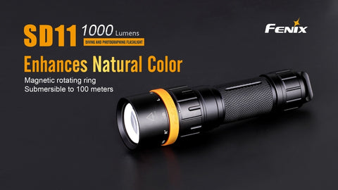 Fenix SD11 1000 Lumen 1 x 18650 CREE XM-L2 US Neutral White + Red Light Diving Flashlight