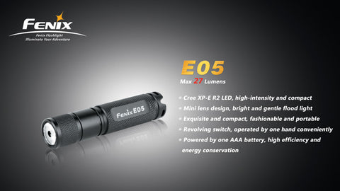 Fenix E05 R2 27 Lumen LED Flashlight - Black
