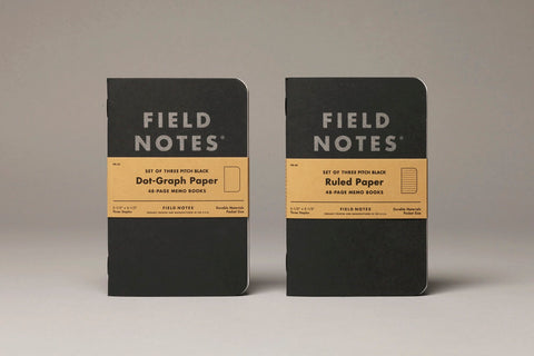 Field Notes Brand Pitch Black Memo Book Ruled 3 - Pack