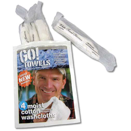 Go Towels Moistened Washcloths - 4 Pack